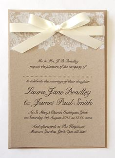 Ribbon and Lace Wedding Invitation SAMPLE by STNstationery on Etsy