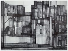 Art & Design by Megan McGlynn. Drawings and sculptures based on memories, architectural drawings, mathematical grids, and geometric assemblages. Clipart Black And White, Black And White Drawing, Building Drawing, Architecture Drawings, Architecture Design, Hand Sketch, Worlds Of Fun, Craft, Illustration