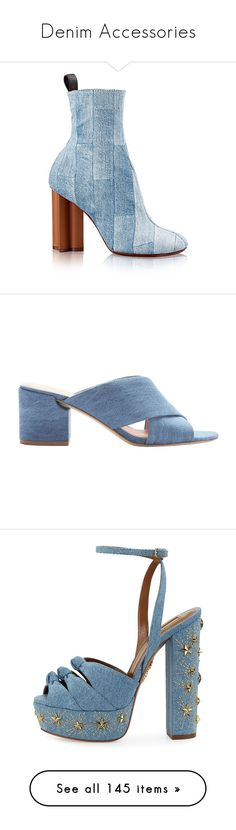 """""""Denim Accessories"""" by jckyleeah ❤ liked on Polyvore featuring denim, shoes, boots, summer boots, thick heel boots, patchwork shoes, monogram shoes, wide heel shoes, sandals and strappy sandals"""