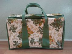 1970s Avocado Green Gold Flowers and Ferns by bycinbyhand on Etsy, $46.00