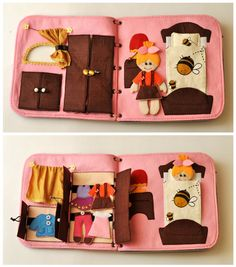 Travel fabric Dollhouse book with felt doll. It's a great present for a child! This dollhouse has interesting content and encourage the development                                                                                                                                                                                 More