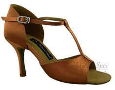 Natural Spin Signature Latin Shoes(Open Toe):  H1102B_DrTanS