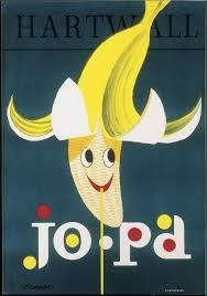 Advertisement poster for the Hartwall Jopa banana-flavoured soft drink by Erik Bruun, probably from the late Vintage Advertising Posters, Vintage Advertisements, Vintage Ads, Vintage Posters, Retro Illustration, Cool Posters, Creative Posters, Typography Prints, Pattern Wallpaper