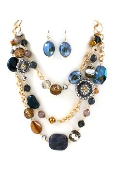 Sienna Necklace in Agate and Sodalite