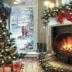 Xmas Charity Christmas Cards Decoration by Fire Gloss Finish - Pack 5 Christmas Scenery, Old Time Christmas, Christmas Post, Merry Christmas To All, Retro Christmas, Christmas Bells, Modern Christmas, Cute Christmas Wallpaper, Christmas Artwork