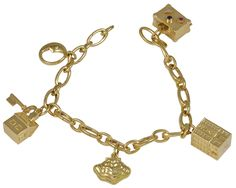TIFFANY&CO Gold Charm Bracelet with  Signature Charms | From a unique collection of vintage charm bracelets at https://www.1stdibs.com/jewelry/bracelets/charm-bracelets/