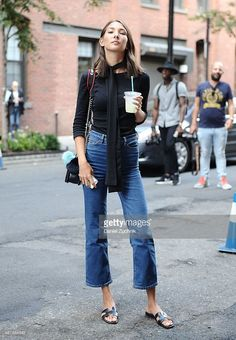A guest is seen outside the Cushnie et Ochs show wearing a Zara top, H&M jeans, Hermes shoes and Chanel bag during New York Fashion Week 2016 on September 11, 2015 in New York City.
