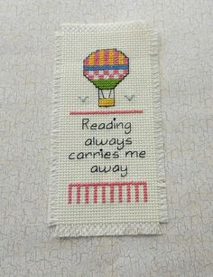 Hot Air Balloon   Cross Stitched Bookmark by stitchnmomma on Etsy, $10.00