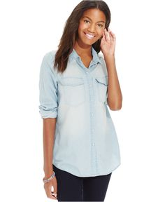 Project 28 Juniors' Chambray Button-Down Shirt - Juniors Tops - Macy's