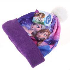 Disney Girls - Frozen - Sisters - Beanie Hat - Purple - Small