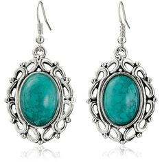 Amazon.com: Yazilind Vintage Tibetan Silver Red Oval Turquoise Dangle... ($2.86) ❤ liked on Polyvore featuring jewelry, earrings, hook earrings, vintage silver jewelry, vintage turquoise jewelry, dangle earrings and vintage jewelry