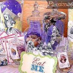 Alice in Wonderland Decor- holy eff I absolutely love it. Would like to Put vintage Alice on mason jars for centerpieces?