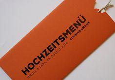 handmade wedding menu card / Menükarte Hochzeit in mandarin/orange
