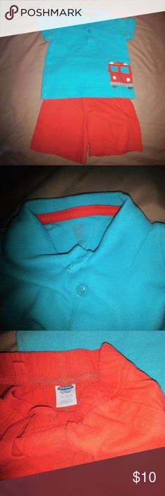 Two piece outfit for baby boy. Size 6-12 mo.EUC Cute outfit for your little boy. Turquoise polo shirt with a red fire engine on the front. Shorts red pull-on shorts from Old Navy a (small) size 12-18 mo.Excellent used condition. Old Navy and Carter Just One You Matching Sets