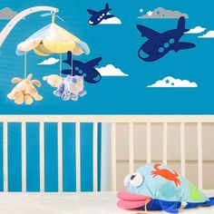 Blue Sky And Plane Wallpaper Sticker Kids Room