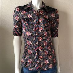 """Replay Floral Blouse Replay Floral Blouse comes in a floral print with  with a western cut and short sleeves. Size: M Bust: 36"""" Shoulder to Shoulder: 14"""" Length: 27"""". 100% Cotton. Made in India. Runs small, tag size medium but fits a size S. Replay Tops Blouses"""
