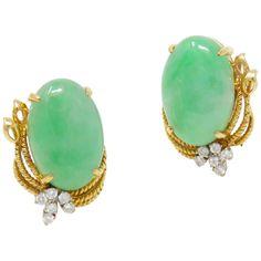 Vintage Estate Gia Certified Jade G/vs Diamond Large Stud Earrings Pink Diamond Earrings, Diamond Earing, Jade Earrings, Diamond Studs, Drop Earrings, Ear Jewelry, Silver Jewelry, Jewelry Accessories, Vintage Jewelry