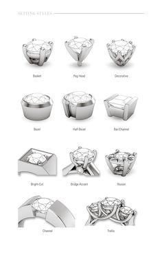 Quick glance at different styles for center gems