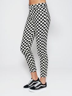 Checkered Denim Jeans Skinny Trousers High Waisted – Minga London