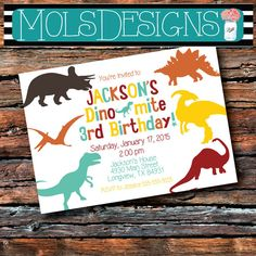 Any Color DINOSAUR BIRTHDAY Silhouette Rex Baby Boy Dino First Second Third 4th 5th Chevron Red Teal Baby Shower Fossil Party Invitation