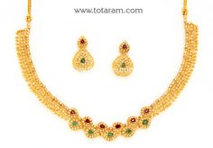 22K Gold Necklace & Ear Hangings Set with Uncut Diamonds,Rubies,Emeralds