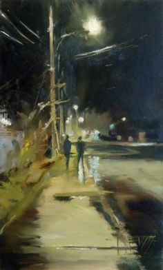Winslow Way nocturne, urban oil painting -- Robin Weiss