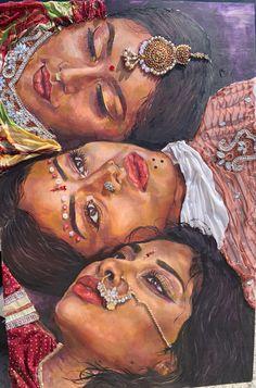 Modern Indian Art, Indian Folk Art, Indian Women Painting, Indian Art Paintings, Indian Aesthetic, Aesthetic Art, Art Sketches, Art Drawings, Art Et Design