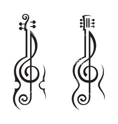 Violin guitar and treble clef vector