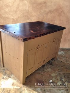reclaimed barn wood kitchen island (back view), painted Benjamin Moore Richmond Gold, www.braunfarmtables.com