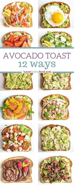 Mix and match avocado toast recipes – includes savory and sweet options. Great filling and healthy breakfast, lunch, or snack! Mix and match avocado toast recipes – includes savory and sweet options. Great filling and healthy breakfast, lunch, or snack! Healthy Breakfast Recipes, Vegetarian Recipes, Cooking Recipes, Healthy Breakfasts, Vegan Avocado Recipes, Simple Avocado Recipes, Healthy Brunch, Avocado Ideas, Simple Healthy Snacks