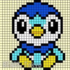 "Pokemon of the big three Pokemon Diamond & Pearl the ""Piplup"" integral tried. - Pokemon of the big three Pokemon Diamond & Pearl the ""Piplup"" integral tried to parlor beads de - Pixel Art Templates, Perler Bead Templates, Pearler Bead Patterns, Perler Patterns, Pixel Pokemon, Pyssla Pokemon, Pokemon Perler Beads, Pixel Art Anime, Minecraft Pixel Art"