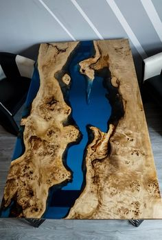 SOLD Blue river table with epoxy inlay Mappa Burl SOLD - resina