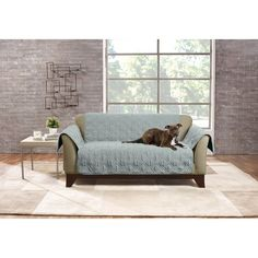 Mist (Blue) Deluxe Non-Skid Waterproof Loveseat Furniture Cover - Sure Fit Dining Room Chair Slipcovers, Dining Chair Slipcovers, Dining Room Chairs, Teal Throws, Quilt Stitching, Furniture Covers, Love Seat, Couch, Fit