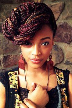 85 Box Braids Hairstyles for Black Women - Hairstyles Trends Braided Hairstyles For Black Women, Braids For Black Hair, Asymmetrical Hairstyles, Braid Updo Black Hair, Micro Braids, Medium Hair Styles, Curly Hair Styles, Natural Hair Styles, Natural Curls