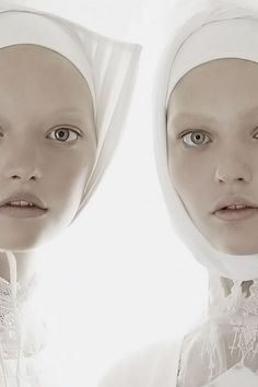"Model expression - wide-eyed innocence Close-up of Gemma Ward and Sasha Pivovarova In ""Organized Robots"", Photographer Steven Meisel, Vogue Italia, March 2006 Patrick Demarchelier, Steven Meisel, High Fashion Photography, Editorial Photography, Portrait Photography, Gemma Ward, Sasha Pivovarova, Tim Walker, Ellen Von Unwerth"