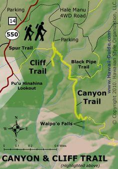 Canyon and Cliff Trail Map - Kauai