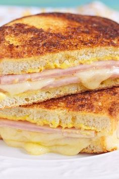 Weight Watchers Grilled Ham and Three Cheese Sandwich Recipe with Gruyere and Mozzarella Cheese, Cream Cheese, Dijon Mustard, and Rosemary - 7 WW Points