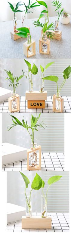 Wooden Base Stand glass Test Tube Planter Flower Pot Vase, Wooden glass Planter Flower Pot Vase