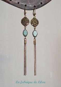 Boucles d'oreille bronze et perles bleu turquoise