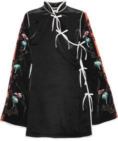 Attico - Annamay Embroidered Velvet Mini Dress - Black