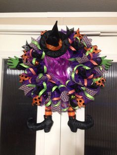 Witch crashed wreath created and designed  by Ronda Cromeens. Large 50$. Detailed