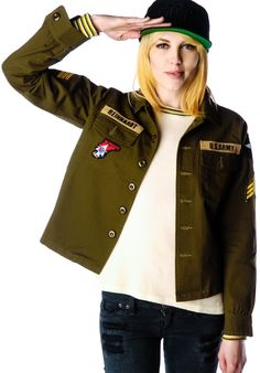 Army Military Jacket with Patches | Dolls Kill