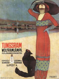 Cats in Art and Illustration: Géza FARAGÓ (1877-1928), Poster for Tungsram Light Bulbs, 1910