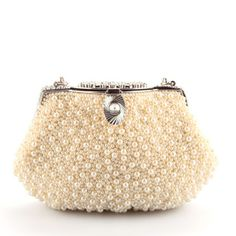 Delicate Pearl Buckle Silver Trimmed Chain Women Clutches