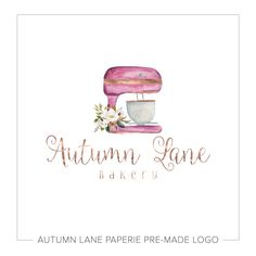 Stand Mixer Bakery Logo with Floral Bouquet Baking Logo Design, Cake Logo Design, Custom Logo Design, Custom Logos, Cupcake Logo, Chef Logo, Bakery Logo, Watercolor Logo, Floral Logo