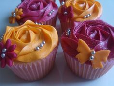 Pink and orange cupcakes