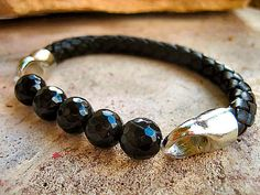 Thick Black Braided Leather Bracelet with Black by LeatherDiva, $31.00