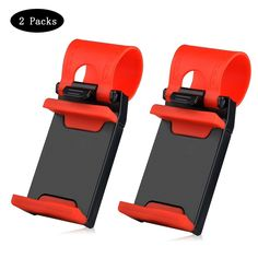 Car Mount,Car Steering Wheel Mount Holder For Most Phones, iPhone 7 6 6S 5 5S 5C SE,Samsung Galaxy,Note, and Tablet MP4 GPS (2 packs)- Red ** Click image to review more details. (This is an affiliate link and I receive a commission for the sales)