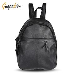 8fe2e210f3db Guapabien 2017 New Fashion Simple Design Preppy Style Black Backpack For  Girls PU Leather Backpacks Popular Teenager Schoolbag