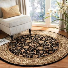 Size x Round Safavieh Lyndhurst Traditional Oriental Black/ Ivory Rug - ( - Black/Ivory) Living Room Crafts, Overstock Rugs, Round Area Rugs, Outdoor Area Rugs, Rug Material, Online Home Decor Stores, Oriental Rug, Colorful Rugs, Traditional